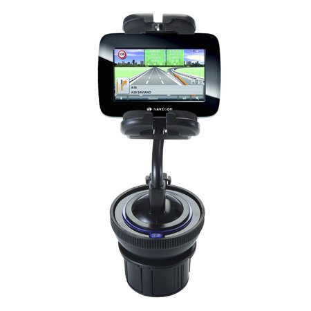 Unique Auto Cupholder and Suction Windshield Dual Purpose Mounting System for Navigon 5100 - Flexible Holder System Includes Two Mount Options ()