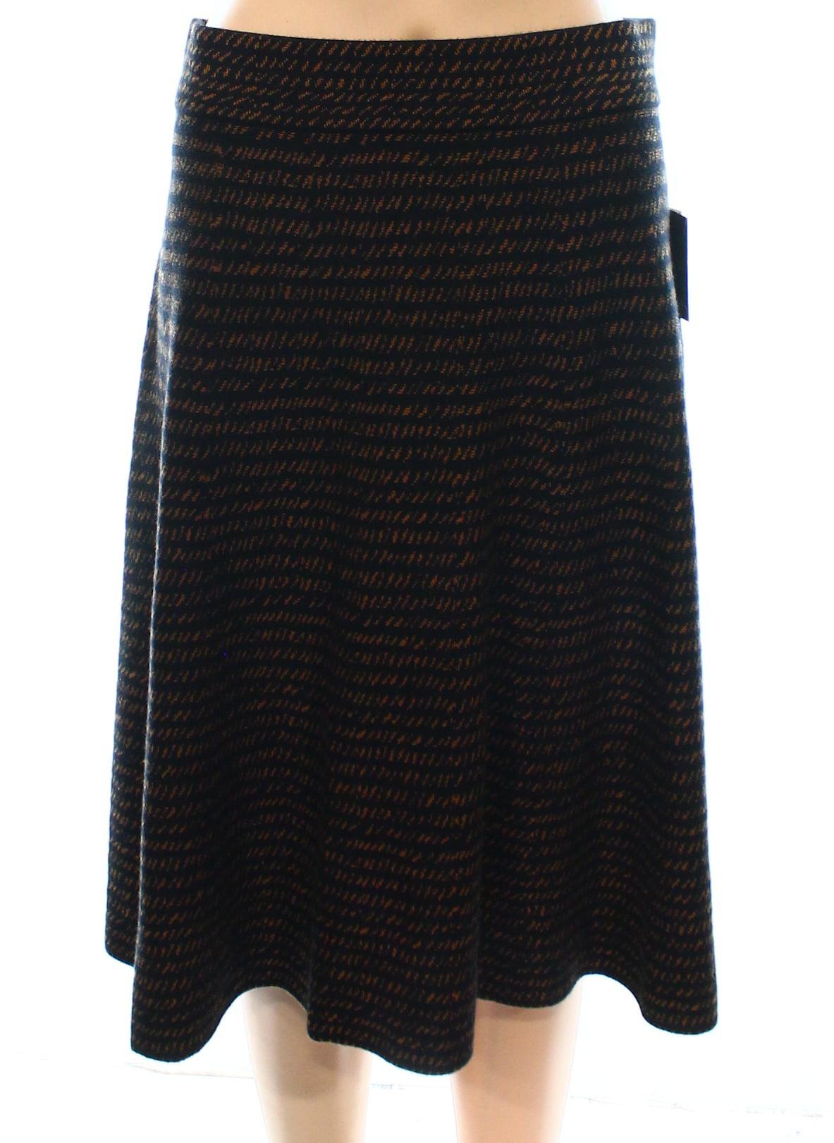 Alfani New Black Brown Women's Size Small S A-Line Striped Knit Skirt by Alfani