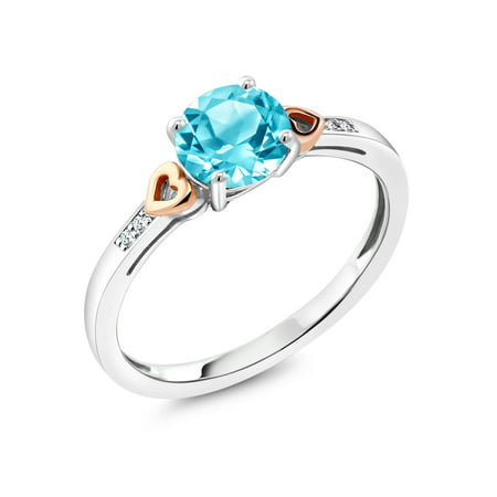 925 Sterling Silver and 10K Rose Gold Ring Swiss Blue Topaz with Diamond (Diamond Open Ring Swiss)