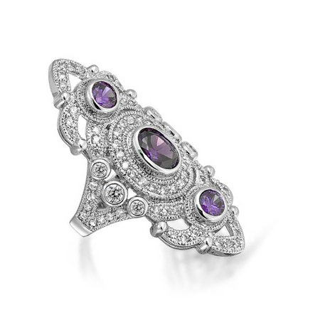 Vintage Style Filigree Purple Cubic Zirconia Long Full Finger Cocktail Ring Simulated Amethyst CZ Silver Plated Brass