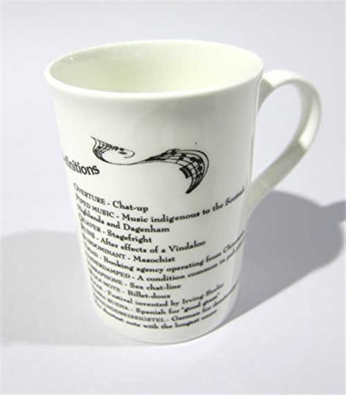 English Bone China Coffee Mug ABC Of Music Definitions by The Music Company