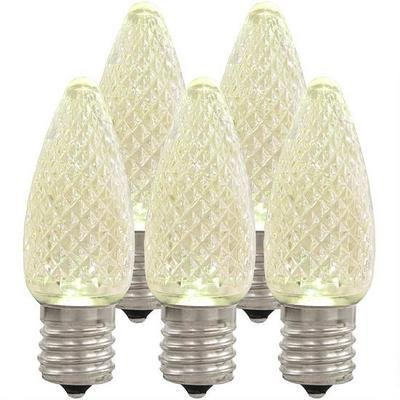 Holiday Lighting Outlet LED Faceted C9 Sun Warm White Replacement Christmas Light Bulbs for E17 Sockets, Energy Efficient, Commercial Grade, 5 Diode 0.58 Watt (LED) Bulb. 25 Bulbs