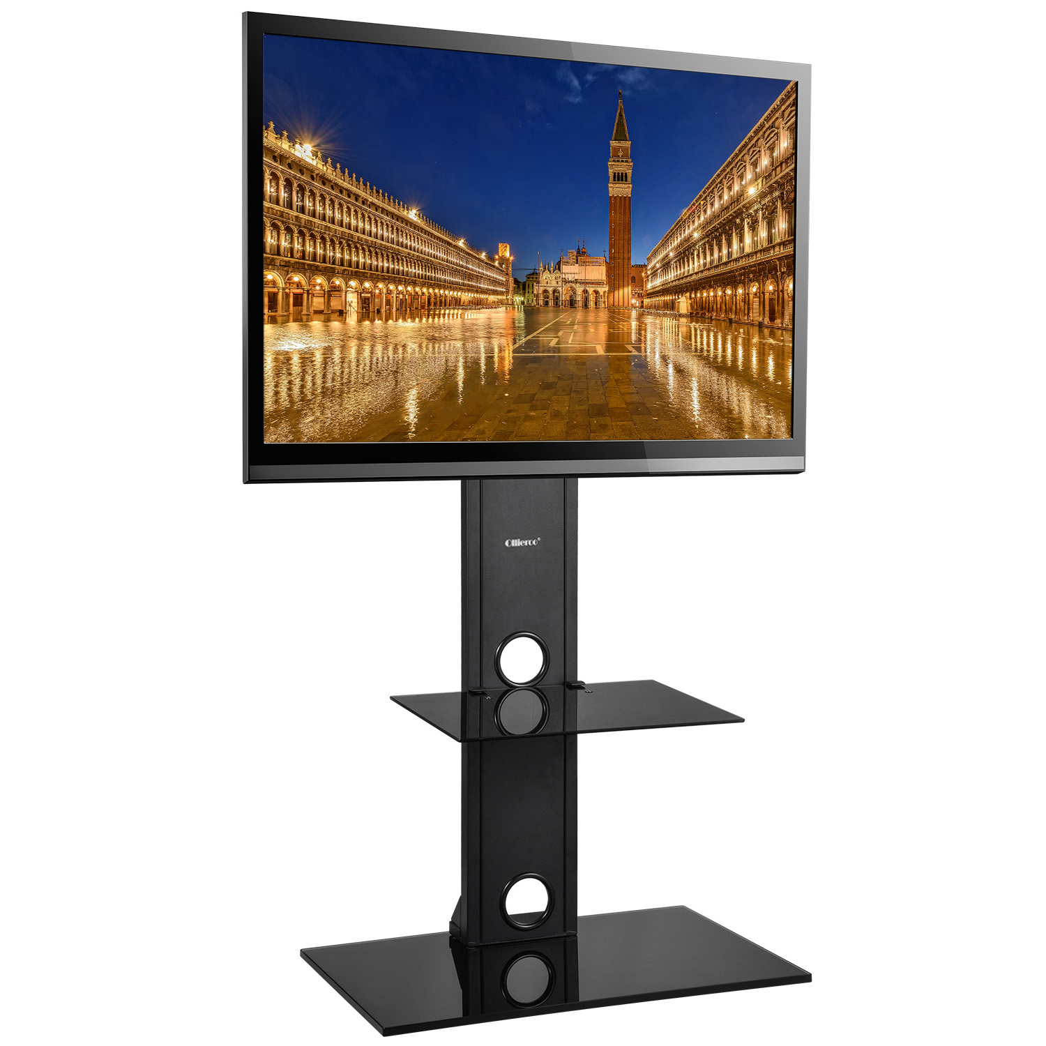 Mllieroo Universal Swivel Bracket Glass Floor TV Stand with Mount and Two Shelves for 26 to 65 inch Plasma LCD TV Up to 110lb Max VASE600x400mm