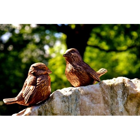 - LAMINATED POSTER Bronze Birdie Figures Sit Cute Poster Print 24 x 36