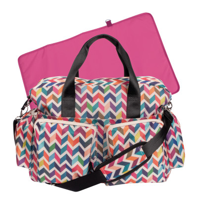 Trend Lab Deluxe French Bull Duffle Diaper Bag with Changing Pad, Rainbow Chevron