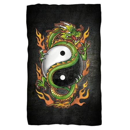 Ying Yang Dragons - Yin Yang Dragon Fleece Blanket