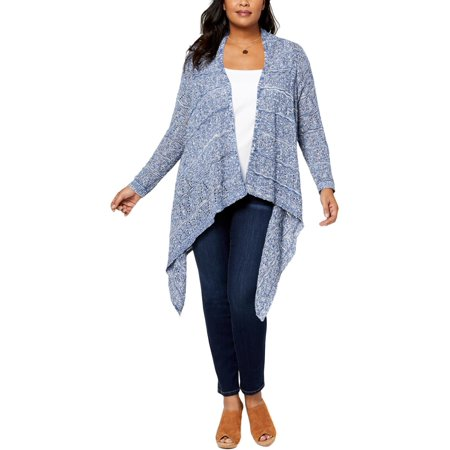 NY Collection Womens Plus Pointelle Open Front Duster Sweater (Cotton Pointelle)