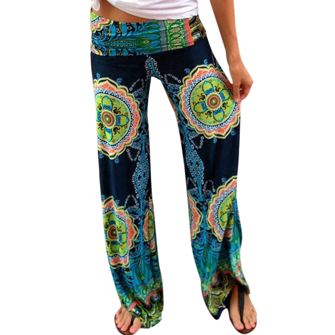 Allegra K Women's Tribal Aztec Printed Wide Leg Fold Over Waist Palazzo Pants Multicolor (Size M / 8)