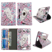 Wallet style for Kindle Fire HD tablet case 7 inch for android tablet cases 7 inch Slim fit standing protective rotating universal PU leather cash Pocket cover Flowery Butterfly