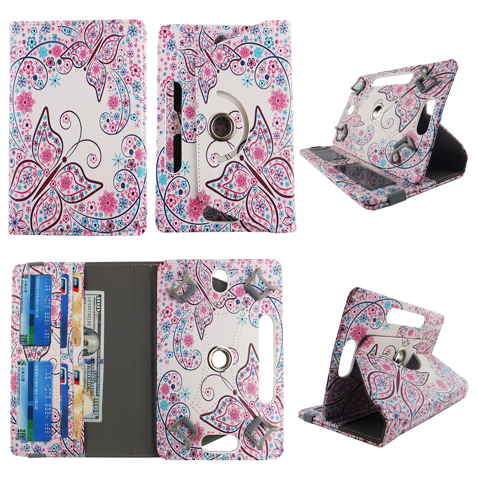 Wallet style for Voyager tablet case 7 inch for android tablet cases 7 inch Slim fit standing protective rotating universal PU leather cash Pocket cover Flowery Butterfly
