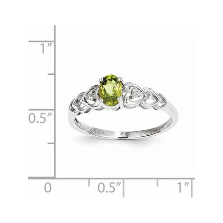 Sterling Silver Rhodium-plated Peridot & Diamond Ring - image 1 de 2