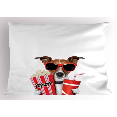 Movie Theater Pillow Sham Funny Dog Wearing Sunglasses Watching a Movie with Popcorn and Soda Print, Decorative Standard Size Printed Pillowcase, 26 X 20 Inches, Multicolor, by Ambesonne (Sunglasses Funny)