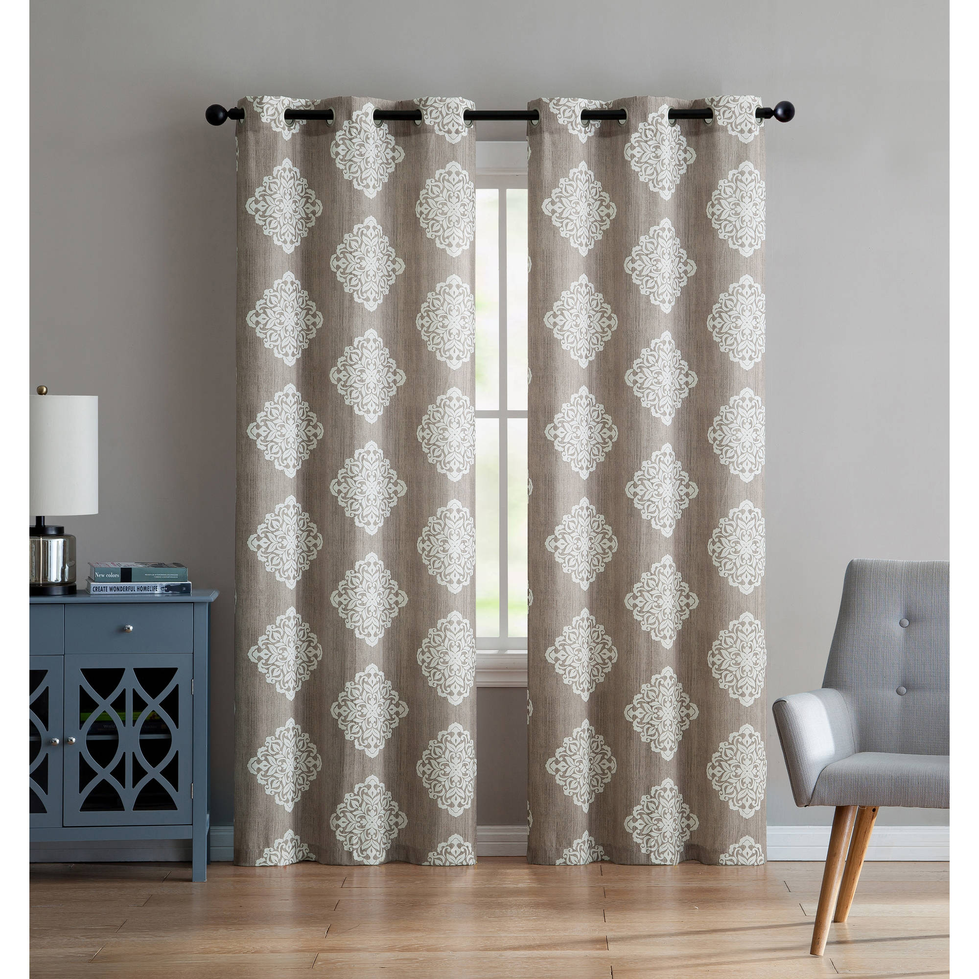 VCNY Home Aria Damask Grommet Top Window Curtain Panel, Set of 2, Multiple Sizes Available