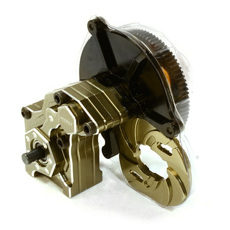 Integy RC Toy Model Hop-ups C26699GUN Billet Machined Main Gearbox w/ Metal Gears for Axial SCX-10 Honcho, Jeep, Dingo