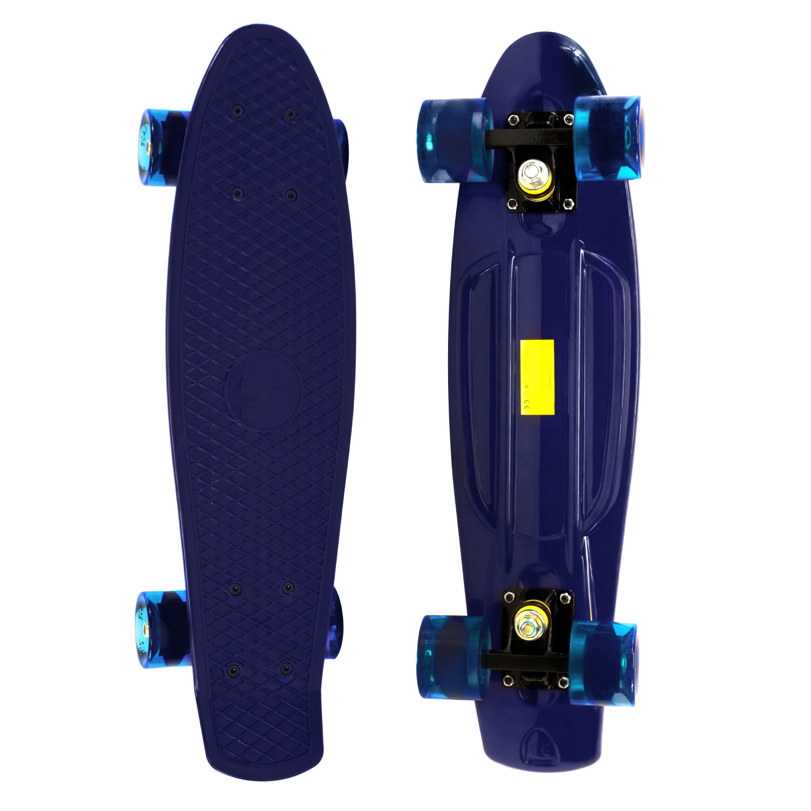 Complete 22 inch Skateboard Plastic Mini Retro Style Cruiser, Black Gold by Scale Sports