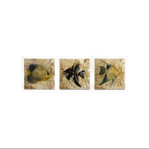 Set of 3 Tropical Fish Capiz Shell Wall Art Plaques