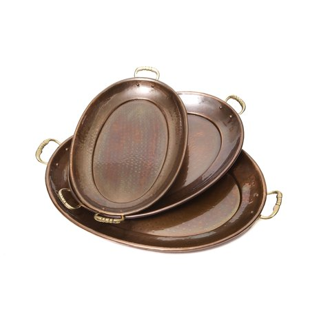 Hammered Décor Antique Copper Oval Trays, 3 Piece Set