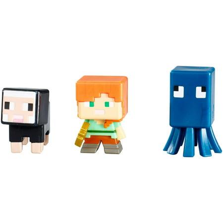 Minecraft 3-Pack Squid, Alex and Black Sheep Figures](Black Skin Minecraft)