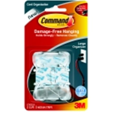 Command Large Clear Cord Clip With 3 Adhesive Strips, Pack