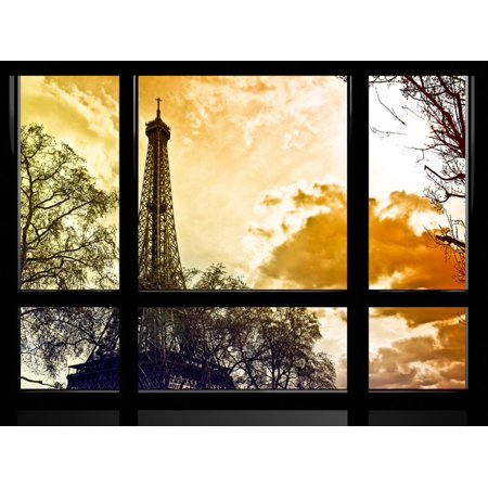 Window View, Special Series, Eiffel Tower at Sunset, Paris, France, Europe Print Wall Art By Philippe Hugonnard