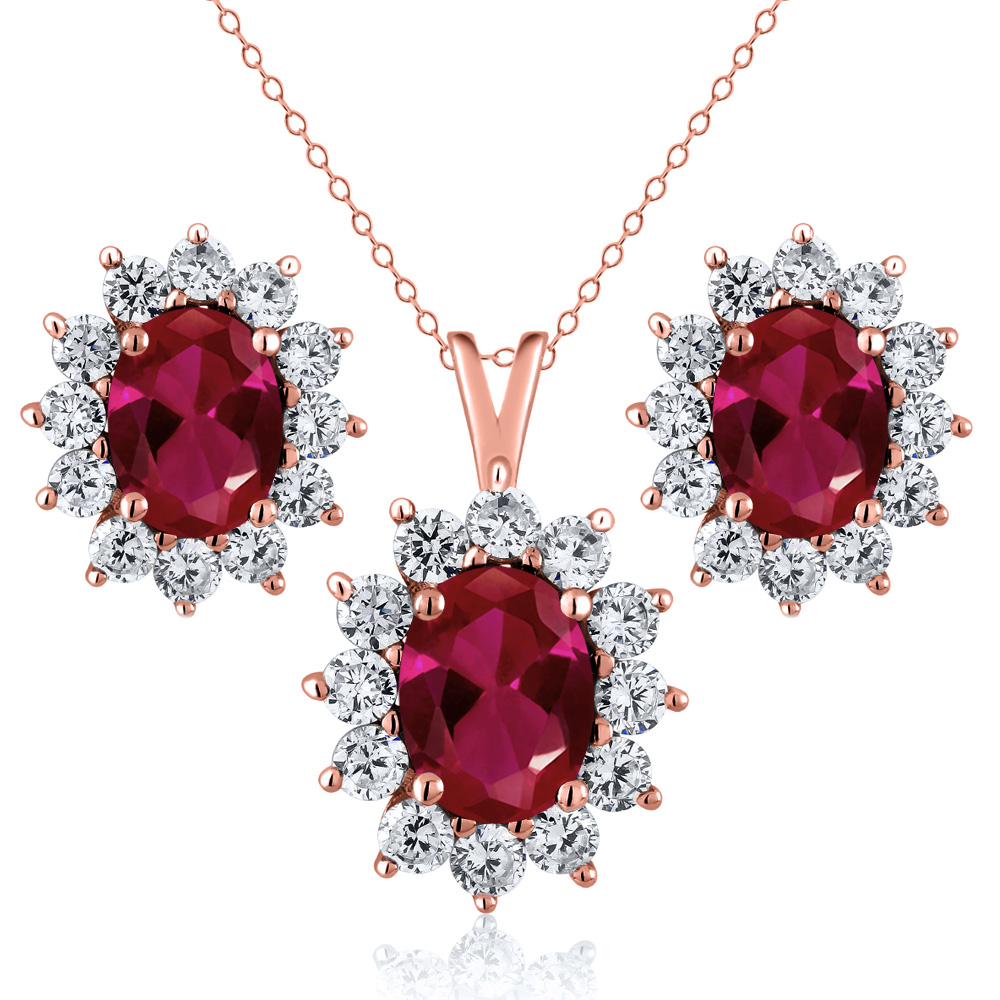 2.75 Ct Oval Red Created Ruby 18K Rose Gold Plated Silver Pendant Earrings Set by