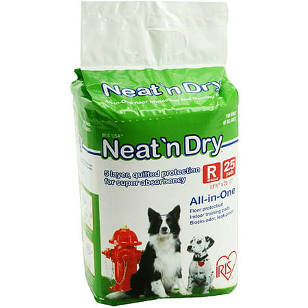 IRIS Neat 'n Dry Premium Pet Training Pads, Regular, 25 Count (Puffy Pads)