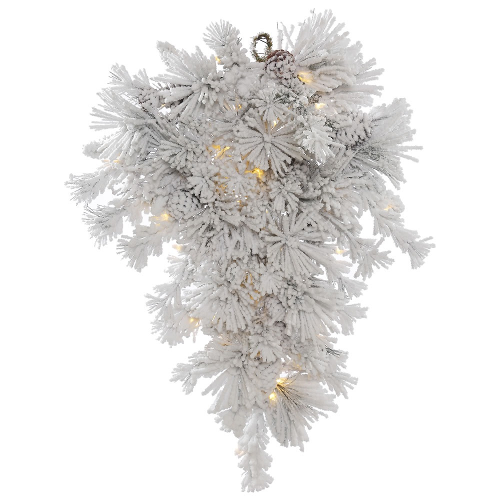 "36"" Pre-Lit Medium Flock Alberta with Pine Cones Artificial Teardrop Swag - Warm Clear LED Lights"