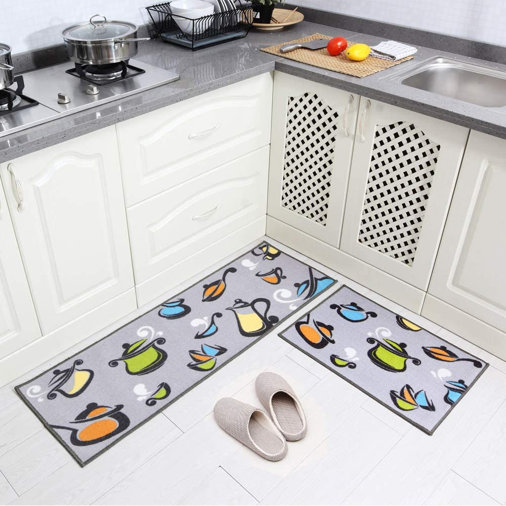 Decorx 2 Pieces Kitchen Rug Set Non Slip Rubber Backing Kitchen Rugs Washable Pots And Pans Design Kitchen Decoration Floor Mats Grey 15 X47 15 X23 Walmart Com Walmart Com