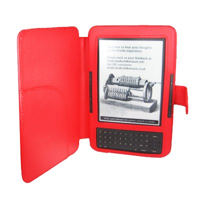 Leather Cover for Kindle 3 - Red