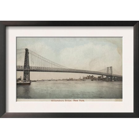 New York, NY - Williamsburg Bridge View Framed Art Print Wall Art  - (Ny Moving Wall Art)