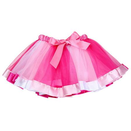 Bow Skirt (BOBORA Lovely Children Girls Tutu Dance Ballet Rainbow Bow)