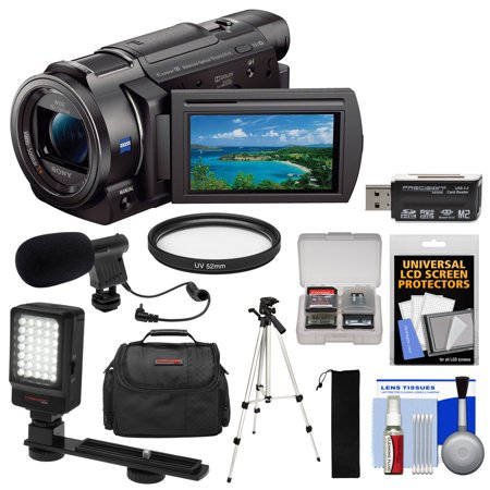 Sony Handycam FDR-AX33 Wi-Fi 4K Ultra HD Video Camera Camcorder with LED Video Light + Microphone + Case + Tripod +