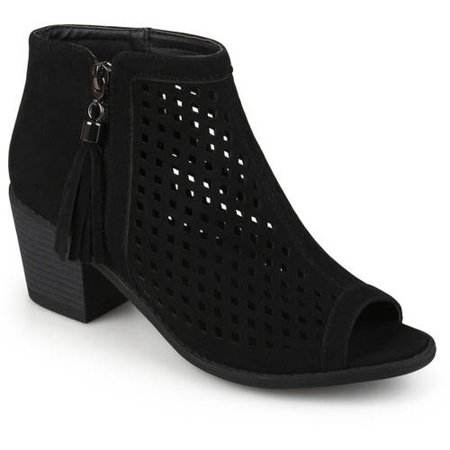 Womens Laser Cut Faux Leather Tassle Booties (Black Sequin Booties)