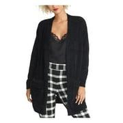 Rachel Womens Amara Faux Fur Layering Cardigan Sweater Black XS