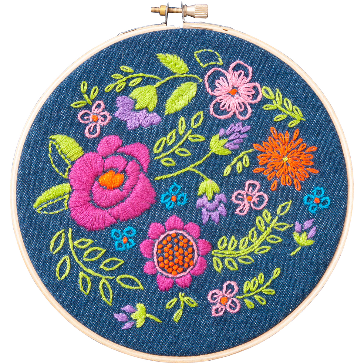 "Bucilla Stmaped Embroidery Kit 6"" Round-Floral Explosion"