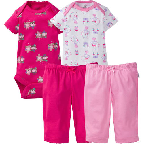 Onesies Brand Newborn Baby Girl Mix n' Match Bodysuits and Pants Layette Set, 4-Piece