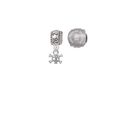Silvertone Mini Skull and Bones with 3 AB Crystals 26.2 Marathon Run She Believed She Could Charm Beads (Set of 2)