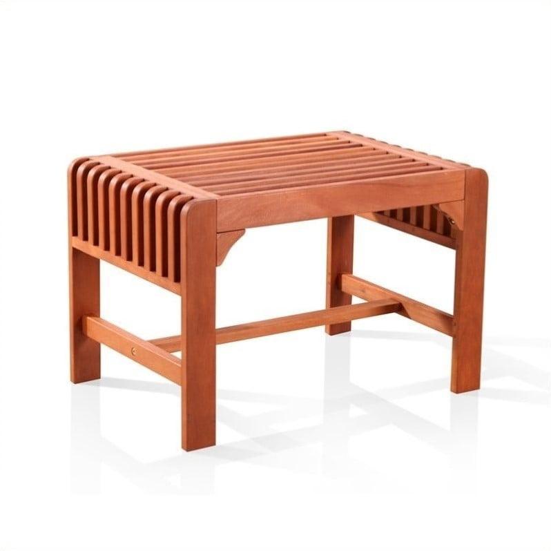 Backless Eucalyptus Wood Single Bench