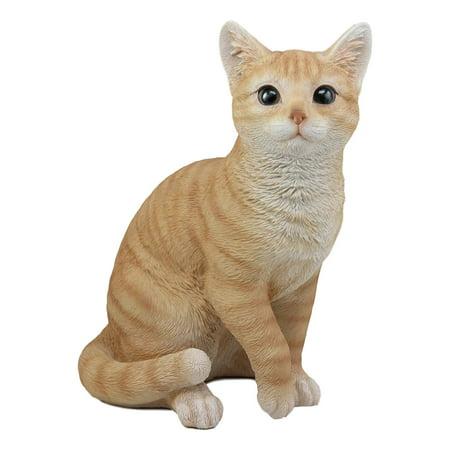 Ebros Lifelike Sitting Orange Tabby Cat Statue 12