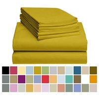 6 PC LuxClub Bamboo Sheet Set w/ 18 inch Deep Pockets - Eco Friendly, Wrinkle Free, Hypoallergentic, Antibacterial, Fade Resistant, Silky, Stronger & Softer than Cotton - Gold Full