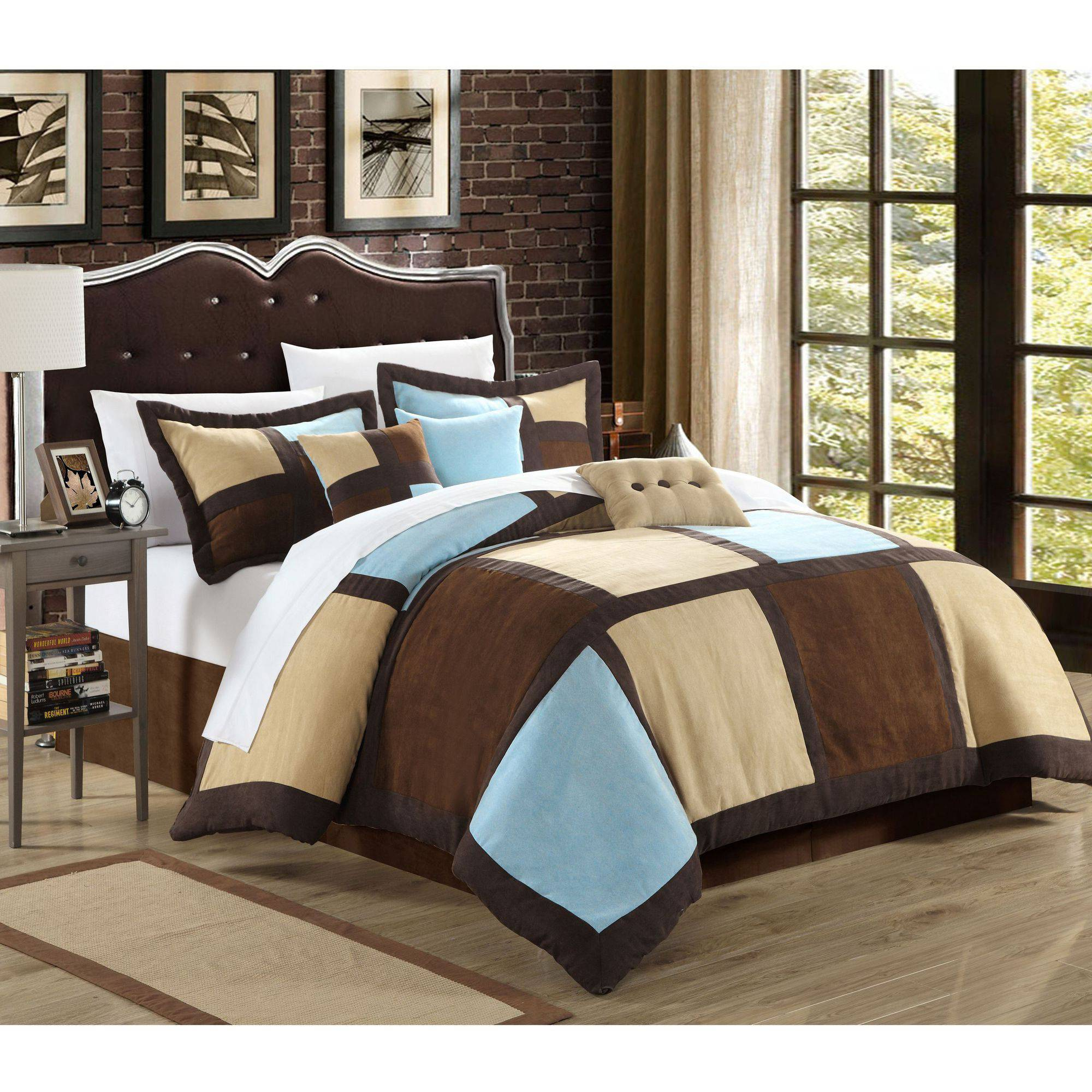 Chic Home Diana 7-Piece Microsuede Patchwork Comforter Set