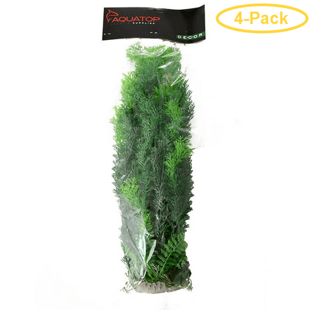 Aquatop Cabomba Aquarium Plant - Green 16 High w/ Weighted Base - Pack of 4 (16 High Four Light)