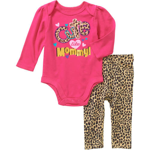 Garanimals Newborn Baby Girl Long Sleeve Graphic/Applique Bodysuit & Jeggings Outfit Set