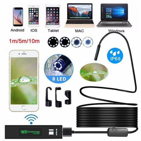 WiFi Endoscope Soft Cable IP68 Waterproof 8 LED 8mm Inspection Camera 1600*1200 HD Camera for iOS Android iPhone Mac Windows