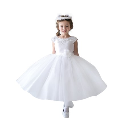 a56d42e5c1 Yaya Fairies - Efavormart Lustrous Satin and Tulle Dress with Crochet Trim  and Flower Birthday Girl Dress Junior Flower Girl Wedding Party Dress -  Walmart. ...
