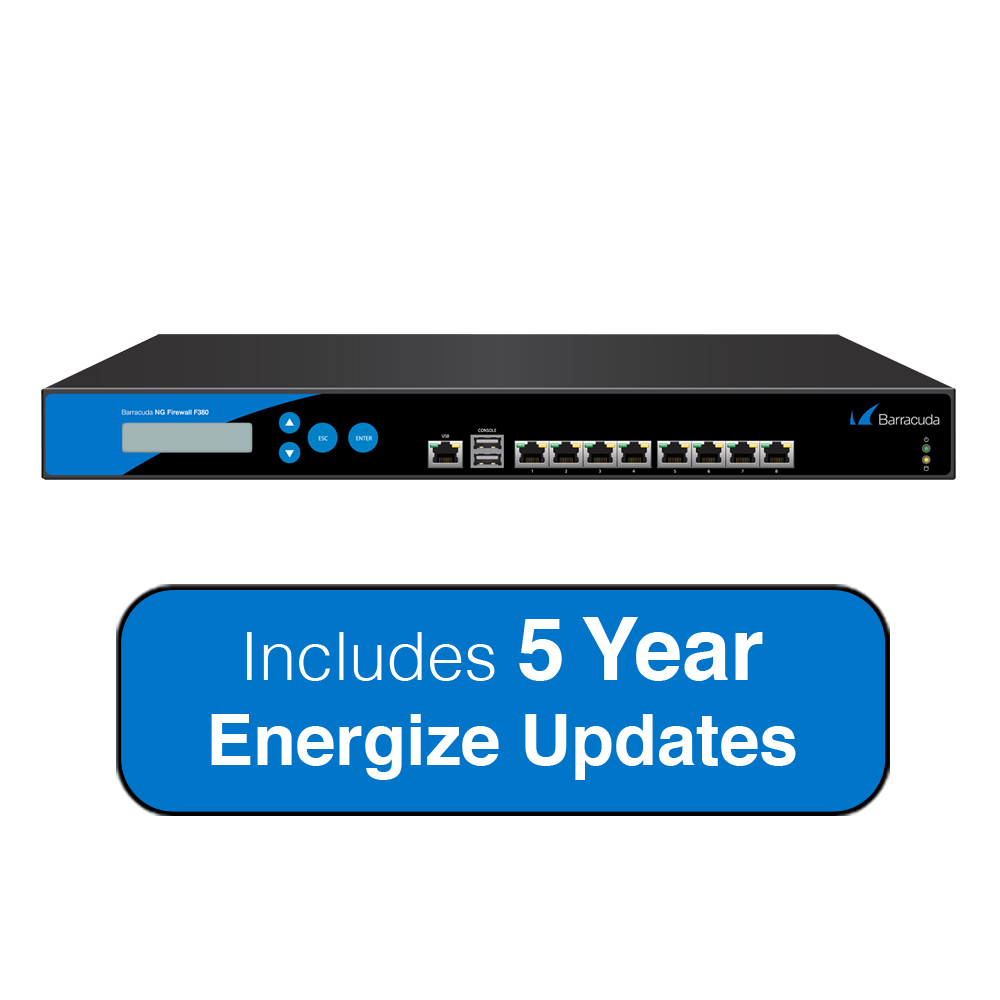 Barracuda Networks NG Firewall F380 with 8x GbE Ports, Up to 3.8 Gbps Firewall Throughput Includes 5 Years Energize... by Barracuda Networks
