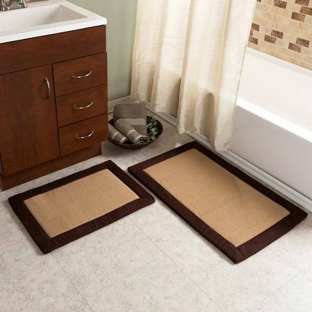 2pc Memory Foam Bath Mat Set, Faux Linen Fleece by Somerset Home (Memory Foam Bath Mat Set Tan)
