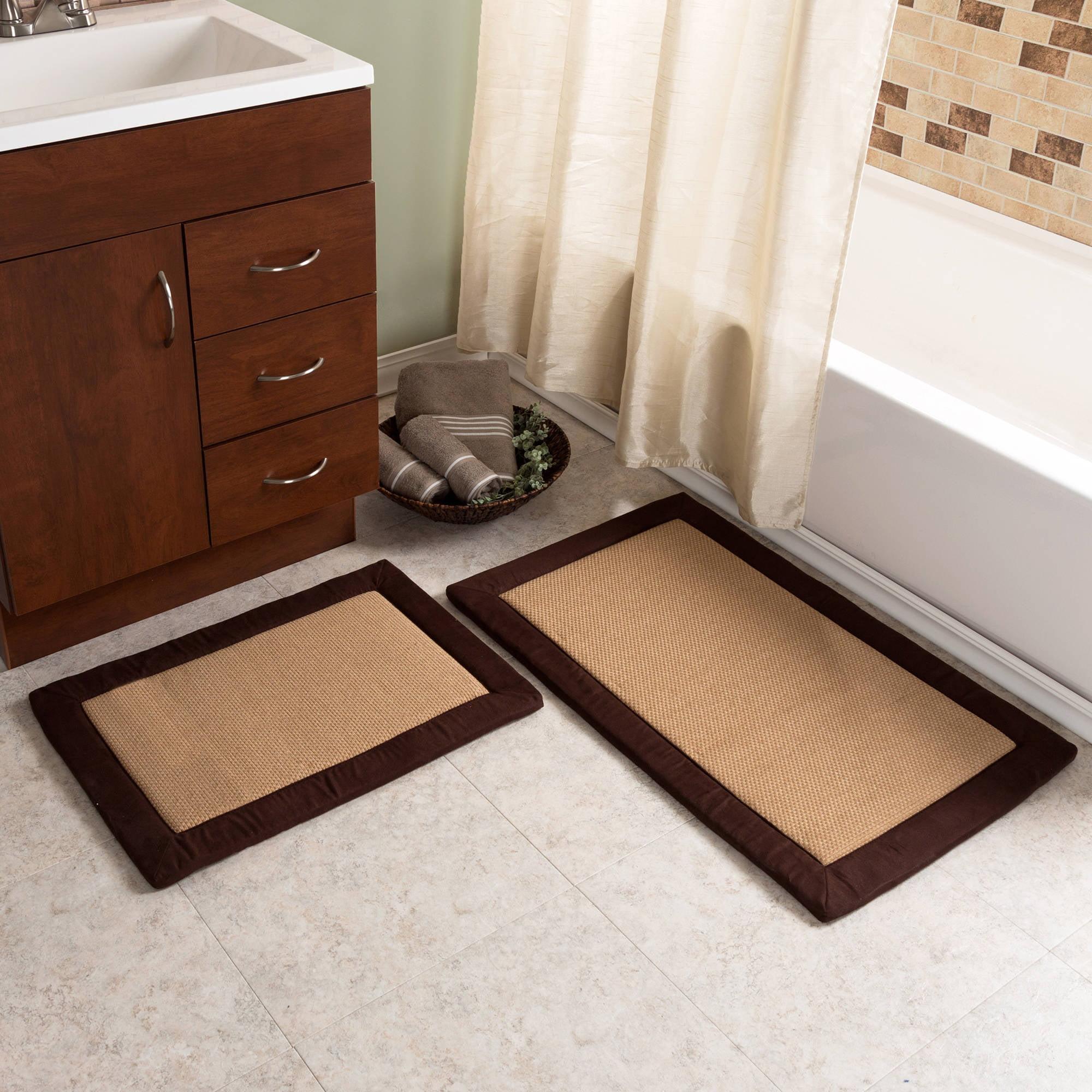 2pc Memory Foam Bath Mat Set, Faux Linen Fleece by Somerset Home
