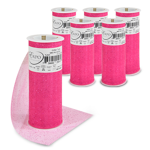 """Expo Int'l Pack of 6 Glitter Tulle Spool 6"""" x 10 Yards"""
