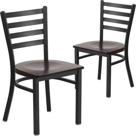 Flash Furniture 2pk HERCULES Series Black Ladder Back Metal Restaurant Chair, Wood Seat, Multiple